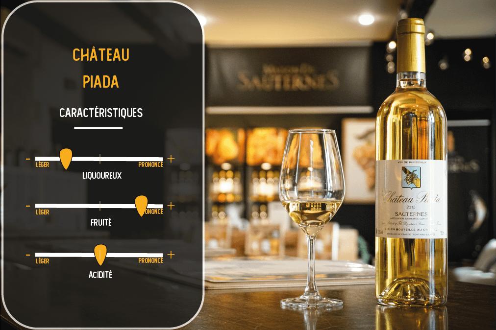 caractéristiques du vin du chateau piada sauternes