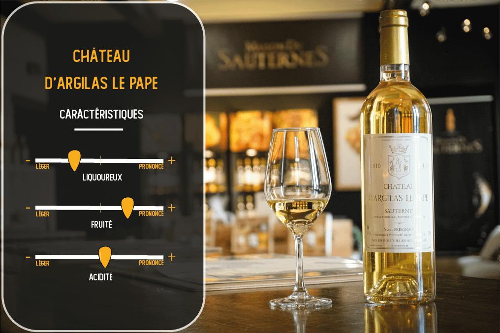 caractéristiques du vin du chateau d'argilas le pape sauternes